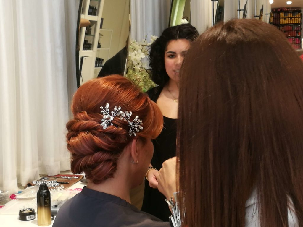 Red Headed woman with Up Do Prom Hairstyle