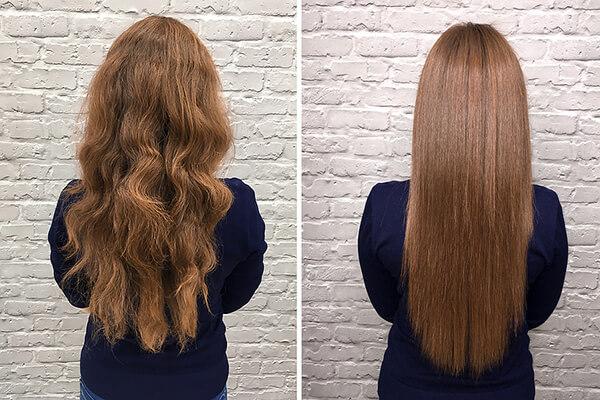 A girl with long hair using keratin treatment