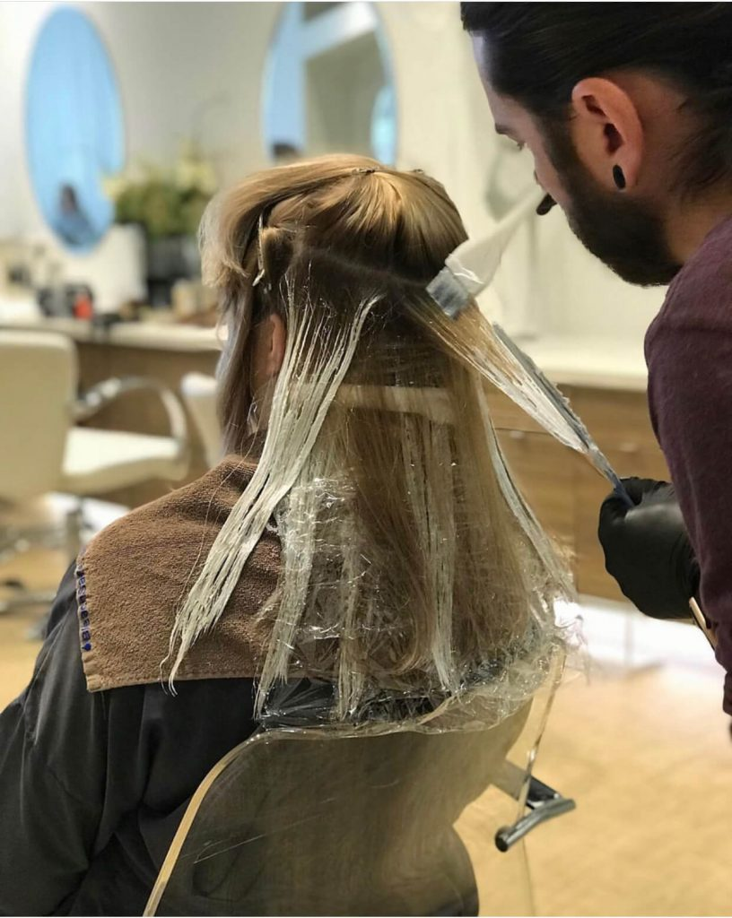 a process of hair coloring