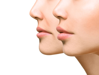corners of lips turn up