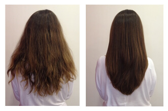 before and after blow dry