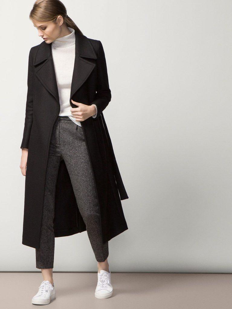 black long coat outfit
