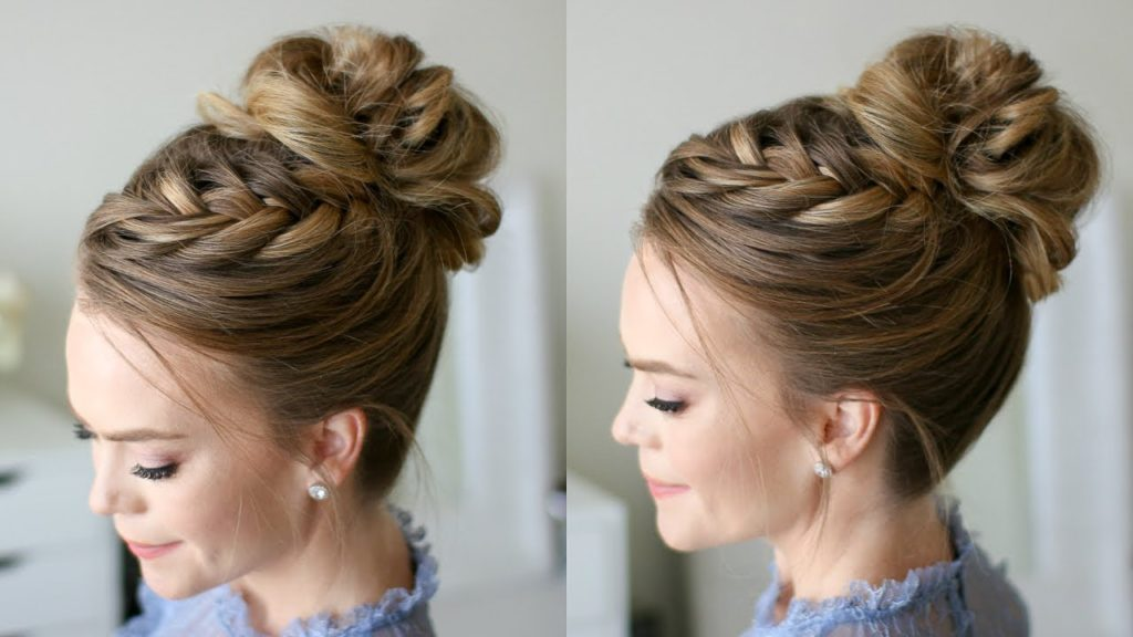 high bun with braids