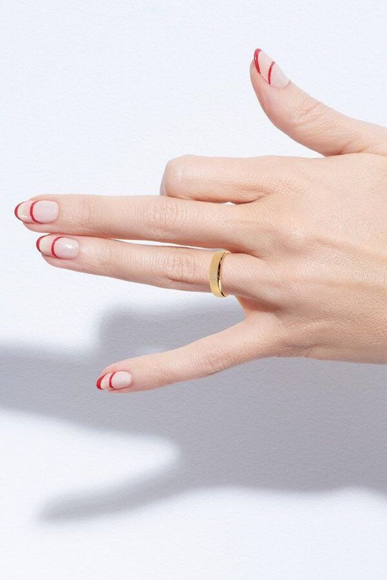 red line nail manicure style